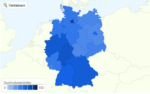 Xing Interessenverteilung nach Bundesländern 2011