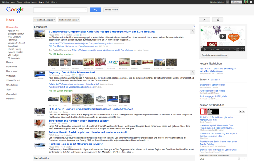 Neues Google News Layout