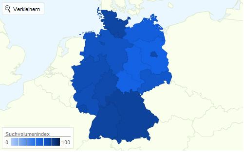 Google+ Plus Interesse Deutschland 2011 Regionale Aufteilung