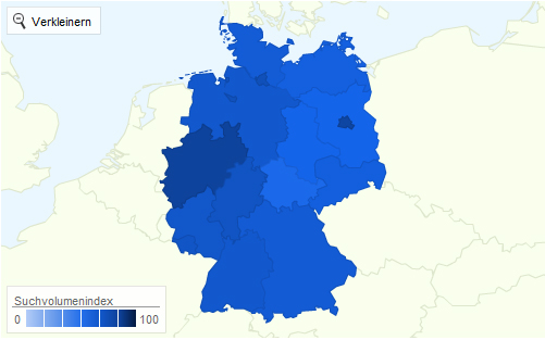 Twitter Deutschland Regionale Aufteilung nach Interesse 2011